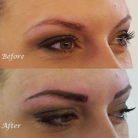 Before and after for semi permanent eyebrows by @lizzymorbid