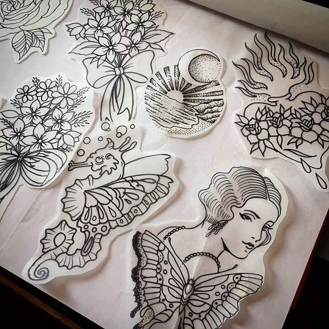 Some beautiful one off flash designs that @t.brookstattoos would love to do.