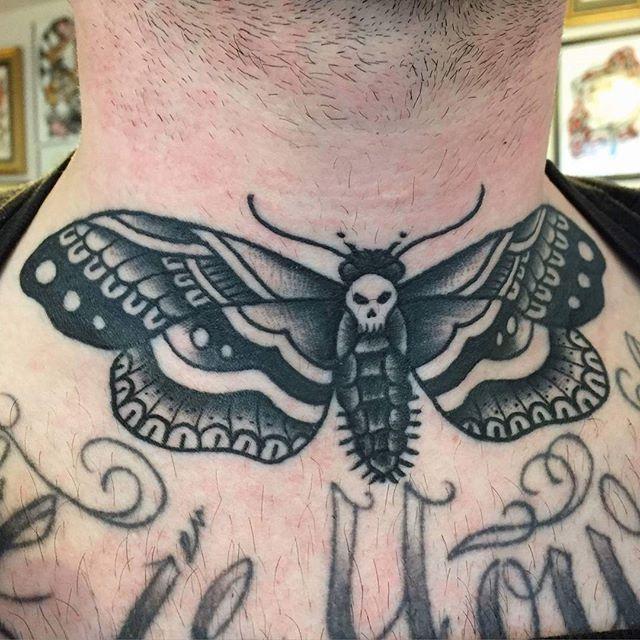 Death's-head hawkmoth trad tattoo by @t.brookstattoos
