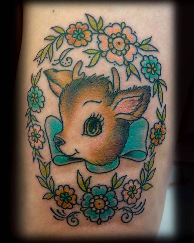 Deer and flowers design by @t.brookstattoos