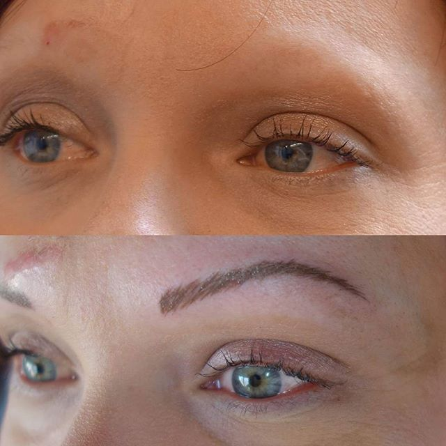 Before and after of semi permanent eyebrows by @lizzymorbid