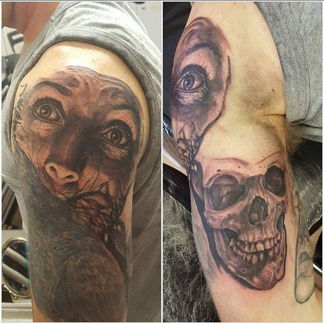 Horror half sleeve in progress part cover up of tribal by @joshhingston11