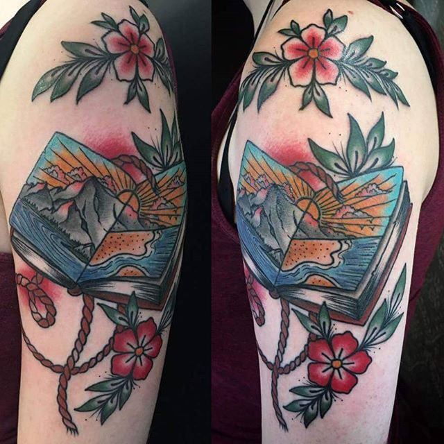 Lovely open book by @t.brookstattoos. #tattoosleeve  #boldwillhold
