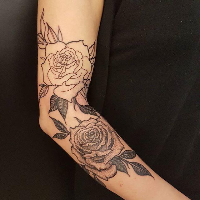 Dotwork roses by @joshhingston11. #tattooflash  #tattoosofinstagram #tattooer    @yayofamilia @darkartists  @blackclaw