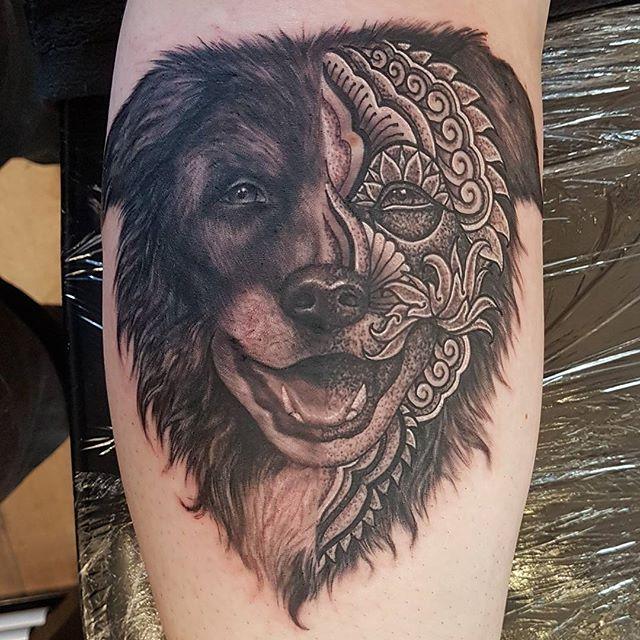 Doggo by @joshhingston11 . #tattooflash   #tattoosofinstagram #tattooer   @yayofamilia @darkartists  @blackclaw