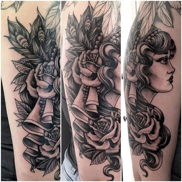 Another beautiful lady done by @t.brookstattoos  she has a few spaces before Christmas.