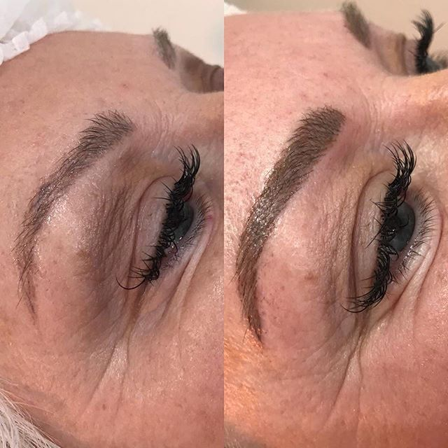 Hairstroke eyebrows to add more definition, the colour will fade to a cool mid brown once healed. Done by @nextlevel_cosmetic_tattooing_