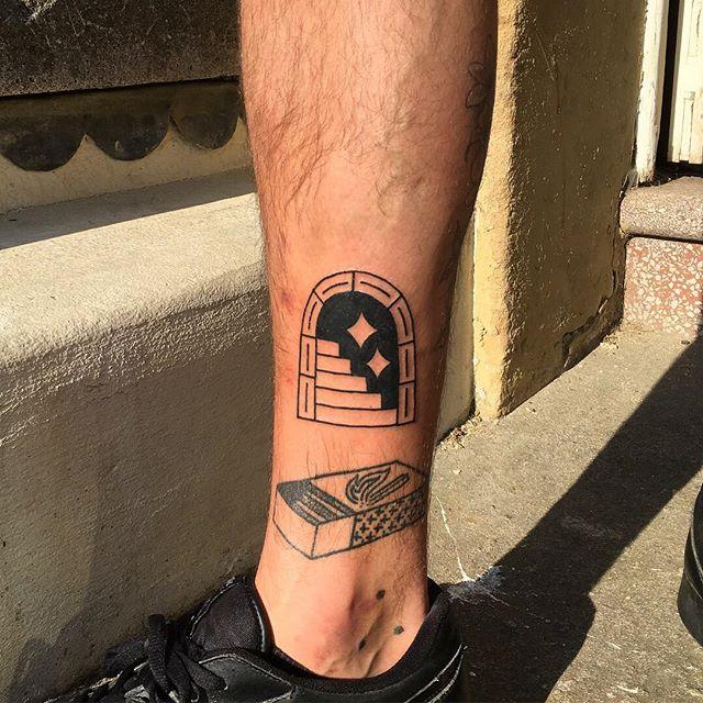 Linework portal / staircase tattoo by junior tattooist Josh B. @joshoneburg