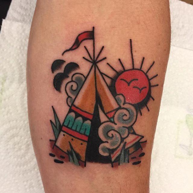 Traditional Tee pee by our junior tattooist Josh B @joshoneburg
